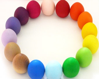 SET OF 12 Wooden Easter Eggs - Custom Colors - Easter Basket