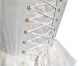 Bessie Corset made from Ivory Duchess Satin with a Peplum style Chiffon Bodice