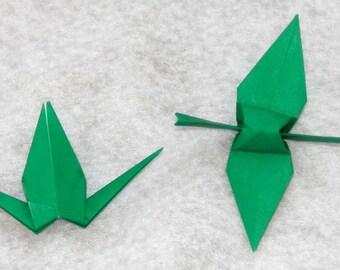 Origami Cranes - 100 Small Green Origami Paper Cranes