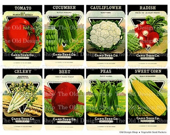 Vintage Vegetable Seed Packets Printable Digital Collage Sheet