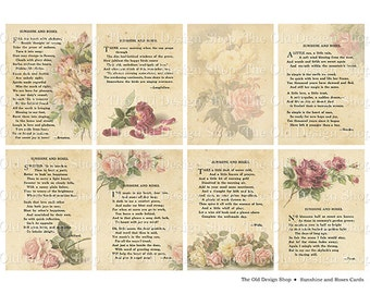 Sunshine and Roses Cards Printable ATC ACEO Digital Collage Sheet