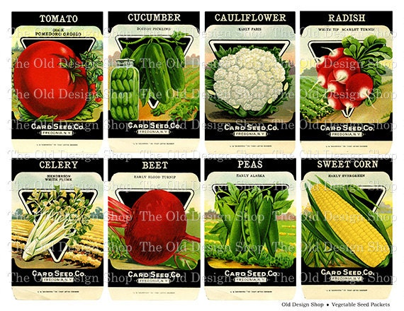 Vintage Vegetable Seed Packets Printable Digital Collage Sheet