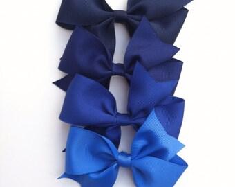 Blue hair bow, girls hair bow