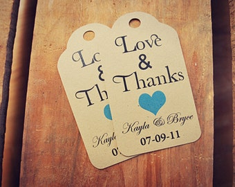 Love and Thanks Wedding Favour Tag SMALL Favor Wedding Thank You Country Rustic Heart Custom Favour Tag Set Custom Colour Personalized