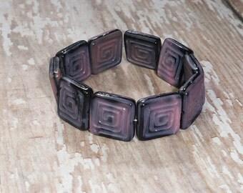 Purple Square Bead 13mm Czech Glass Pink Black Greek Key GEOMETRIC (8)