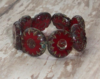 Red Wheel Bead 13mm Czech Glass Dark Picasso Coin SCARLET (6)