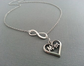 Infinity and Mom Lariat Necklace