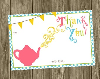 Tea Party Thank You Cards - Fill in the Blank