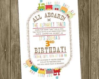 Alphabet Train Birthday Invite