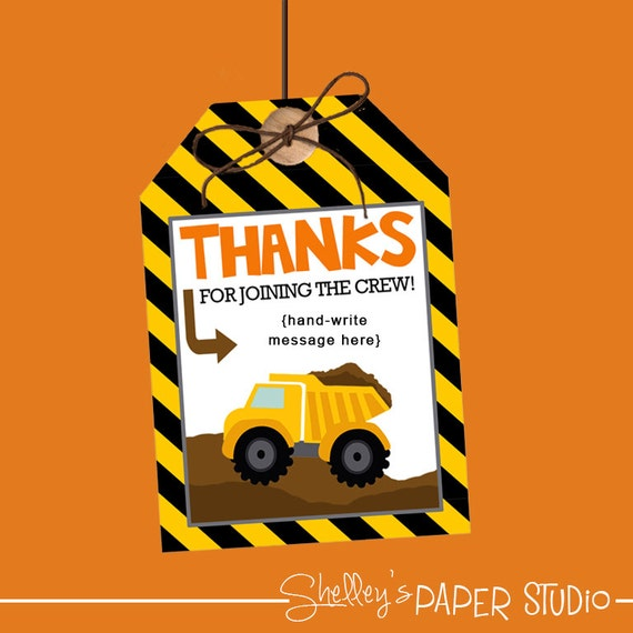 Construction Birthday Party Favor Tags