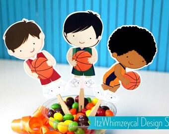 Hoop It Up Basketball Die Cut Cupcake Topper (One Dozen)