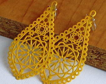 NEW - Sunshine Yellow - Handpainted - Long,Oval ,  faux patina, filigree stamping ,leaf  filigree earrings
