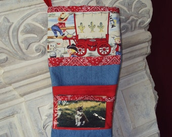 Grub Wagon Christmas Stocking,  Personalized picture pocket,  OOAK, Patchwork stocking