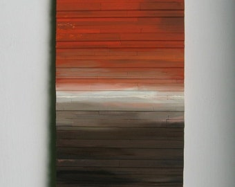 SALE!  Art Wood Wall Art Reclaimed Wood Landscape Art Abstract Painting Sculpture Orange to Brown