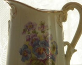 cottage hand painted floral gilded porcelain Austria creamer