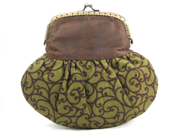 Framed Clutch Purse Small Faux Leather Pouch Brown Green