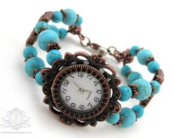 Turquoise copper bracelet watch birthstone watch turquoise watch wrist watch bead watch gemstone watch adjustable watch turquoise gift