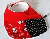 Baby bib - Woof you, dog, red, black (UK seller)
