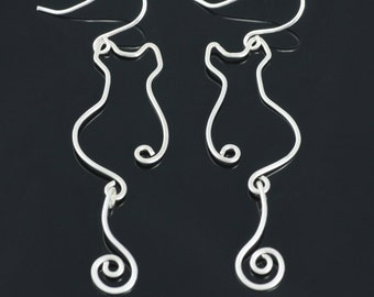 Sterling silver cat dangling earrings Free US Shipping handmade Anni Designs