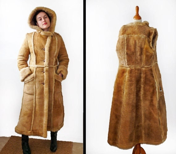 RESERVED for Njeri Hooded SHEARLING Coat by JeezumCrowVintage