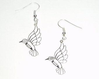 Hummingbird Earrings - Delicate and Detailed Laser Cut Hummingbird Earrings