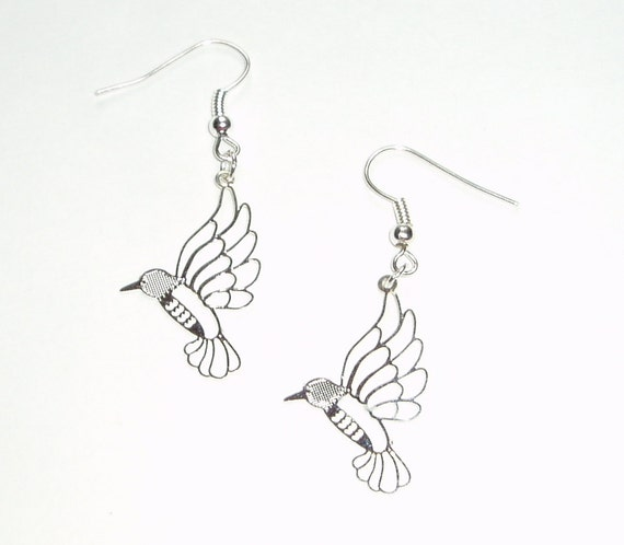 hummingbird earrings delicate and detailed laser cut