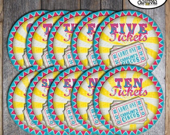 Carnival Party - Circus Party - Ticket Signs - Souvenirs Games Concessions - Pink Blue Yellow - Customized Printable (Girl, Vintage)