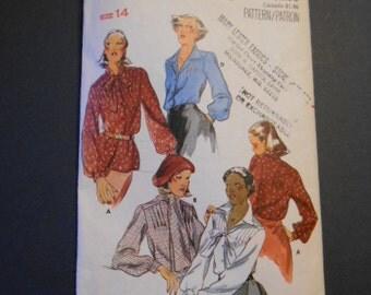 Butterick 5079, Misses Blouses, size 14, vintage