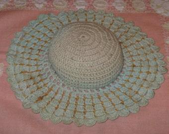 Vintage Pincushion Crochet Hat Light Green Crocheted Doilie Handmade SWEET