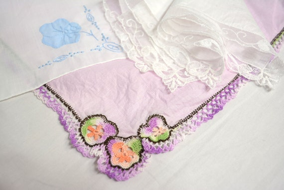 3 Piece Lot - Vintage Hand Embroidered Handkerchief