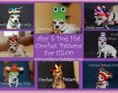 Crochet Pattern Bundle- ANY 5 Dog Hat Patterns