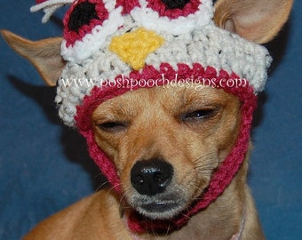 Instant Download Crochet Pattern - Owl Dog Hat - Small Dog Beanie
