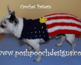 Instant Download Crochet Pattern - American Flag Dog Sweater  - Small Dog Sweater 2-20 lbs