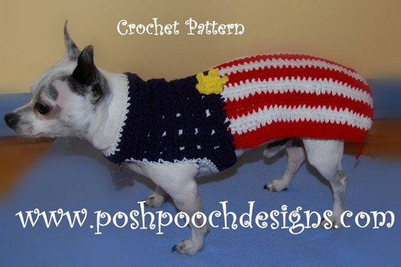 Small American Flag Crochet Pattern : Instant Download Crochet Pattern American Flag Dog Sweater