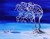 winter wonderland, original painting, frozen, fairy house, fine art, fun painting, whimsical, fantasy painting