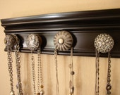 "RESERVED FOR MADI  **20 "" long** necklace organizer has 4 large ceramic knobs in black and white of Hanging storage and jewelery oranization"
