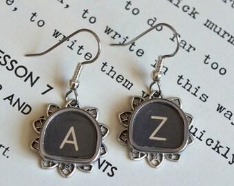 PERSONALIZED Vintage Typewriter Key Earrings