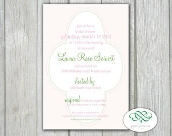 Bridal or Baby Shower - Flower Pattern Printable PDF 4 x 6 Invitation