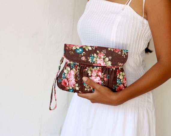 Classic Brown Floral Clutch
