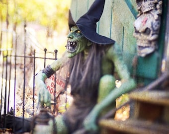 Halloween Witch Green Witch Spooky Scary Evil Dark Photography October Halloween Decor Haunted House, Fine Art Print