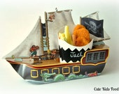 10 Pirate Ship - Pirate Ship Food Box - Favor Box -SET OF 10 - Food Tray - Kids Party Food Box - Pirate Plates