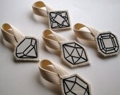 Geometric ornament hand embroidered faux gem outlined in black complete set Christmas ornament, Wedding favors, home decor