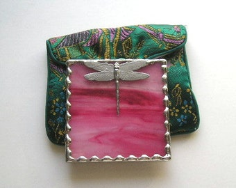 Stained Glass Purse Mirror|Pocket Mirror|Dragonfly|Dragonfly Mirror|Pink|Bath & Beauty|Makeup Tool|Handcrafted - Made in USA