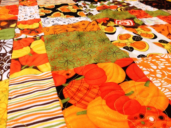 "Handmade ""Pumpkins Gone Wild"" Quilt Throw Size Fall Autumn Halloween Witch"