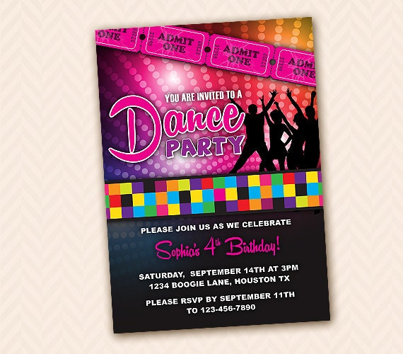 Dance Party Birthday Invitations for nice invitation template