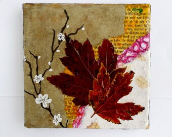Abstract Art Collage, Leaves, Mixed Media Leaf Collage, Original one of a kind Home Decor 6x6 stretched canvas