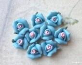8 mm Baby- Blue Color Tiny Flat Back Porcelain Roses (.tm)