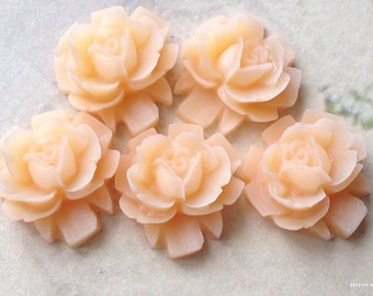16 mm Peach Color Rose Resin Flower Cabochons (.sh)