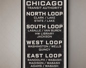 Chicago Illinois Vintage Transport Art Scroll / Destination Blind 3