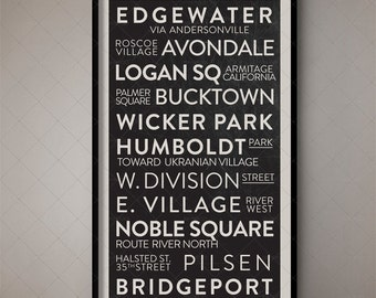 Chicago Illinois Vintage Destination List, Roll Sign, Bus Scroll, Roll Sign, Word Art, Typographic Art, Fine Art, Subway Sign, Tram Scroll